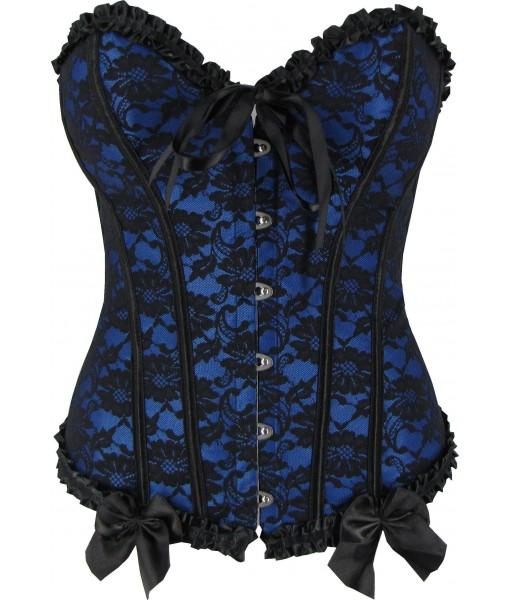 Blue Victorian Sweetheart Corset Top