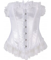 White Corset Satin Finish Lace Accents
