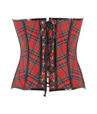 Tartan Corset With Black PVC Trim & Buckles
