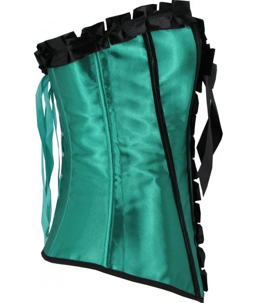 Green Satin Corset With Pleats