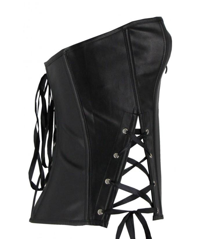 f2b04e619a9 Black Faux Leather Bustier Corset