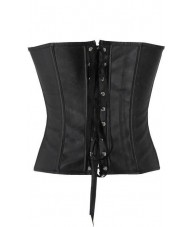 Faux Leather Black Corset Buckle Up Top