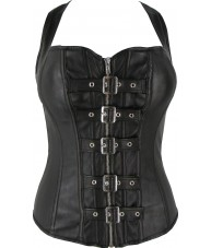 Strappy Faux Leather Buckle Up Black Corset Top