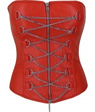 Red Faux Leather Corset with Chains