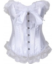 White Corset Satin Style Lace Trim Satin Bow