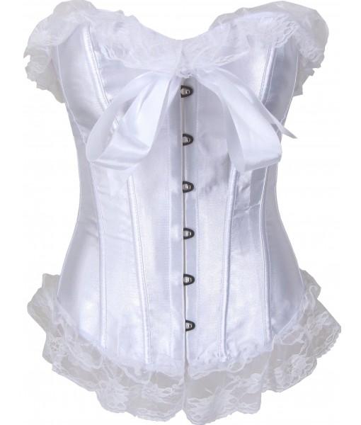 White Corset Satin Style Lace Trim Satin Bow