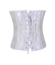White Corset Floral Brocade Material Sweetheart Bust