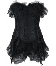 Elegant Black Corset Dress With Lace Trim