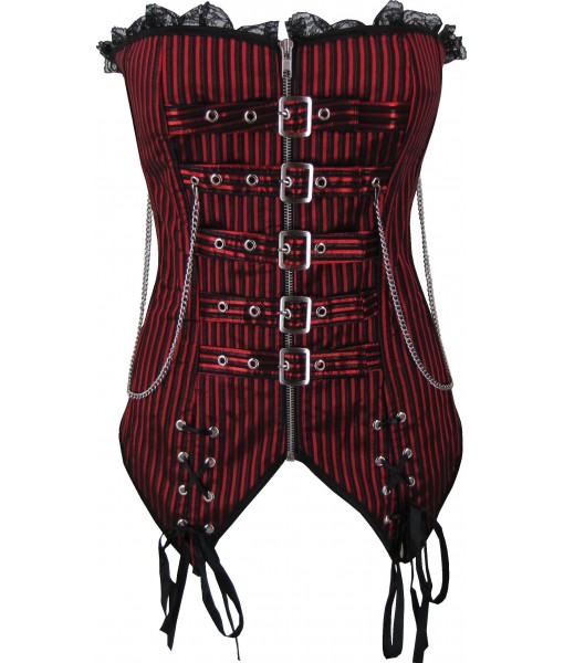 Steampunk Inspired Red And Black Corset