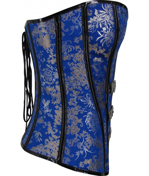 Blue Corset With Floral Brocade And PVC Trim And Buckles