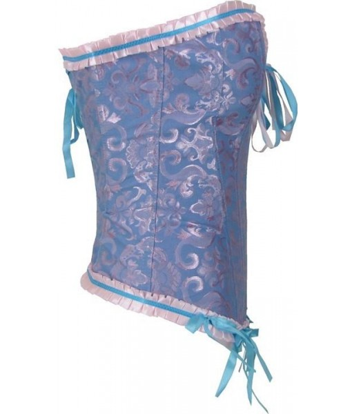 Blue And Pink Corset With Satin Trim And Bows