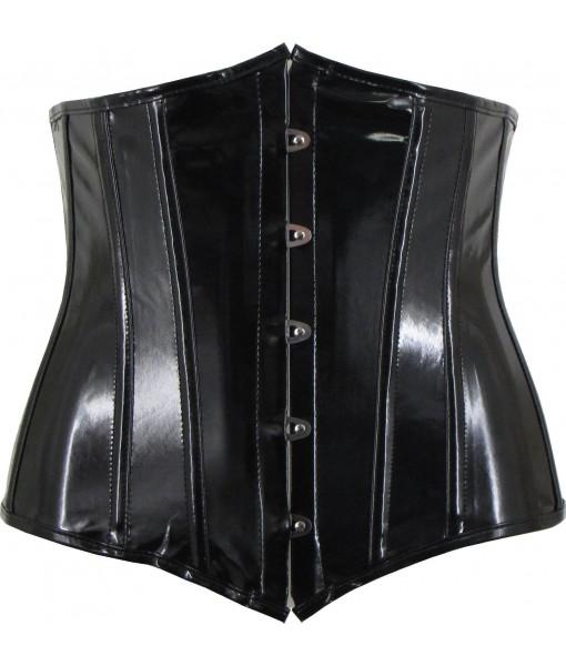 Black PVC Underbust Corset