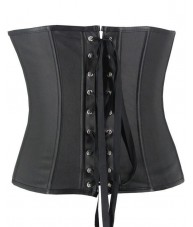 Black Faux Leather Underbust Corset
