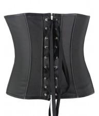 Black Faux Leather Underbust Corset