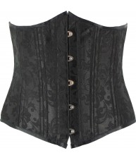 Black Corset Underbust Pointed Victorian Cincher Brocade Heavy Duty (Waist Trainer)