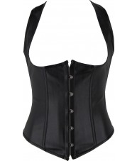 Black Racerback Faux Leather Underbust Corset