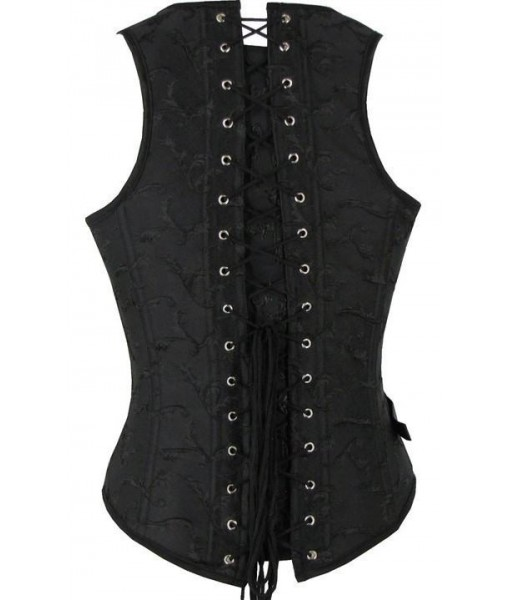 Black Steampunk Faux Leather Underbust Corset