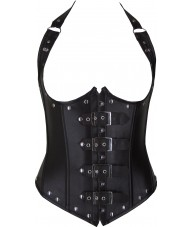 Coffee Faux Leather Underbust Corset Halter