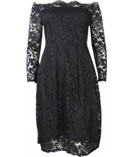 Black Dress Stretch Lace Long Sleeve Off the Shoulder