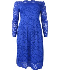 Blue Dress Stretch Lace Long Sleeve Off the Shoulder