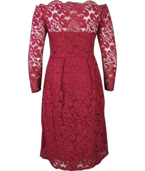 Red Dress Stretch Lace Long Sleeve Off the Shoulder