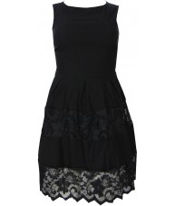 Black Dress Sleeveless with Contrasting Lace Overlay