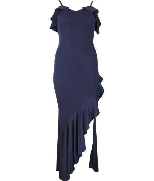 Long Navy Blue Dress with Thigh Length Split