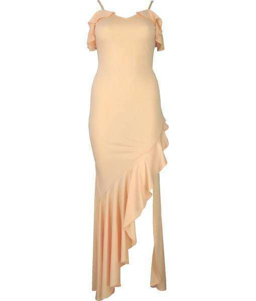 Long Pale Pink Dress with Thigh Length Split