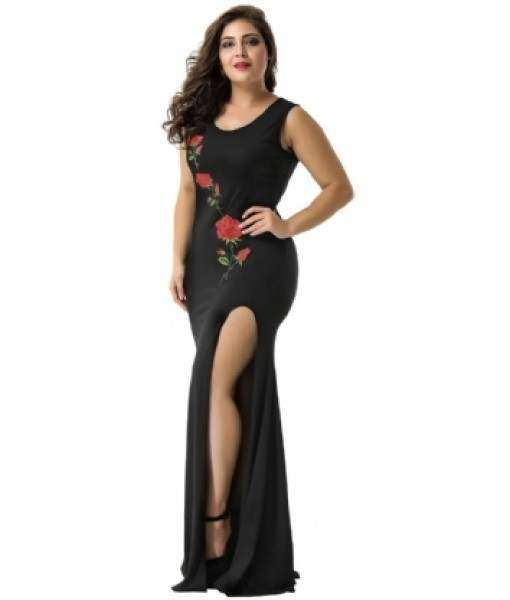 Elegant Long Black Dress Thigh High Split and Rose Embroidery