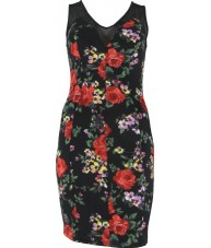 Floral Bloom Black Bodycon Dress