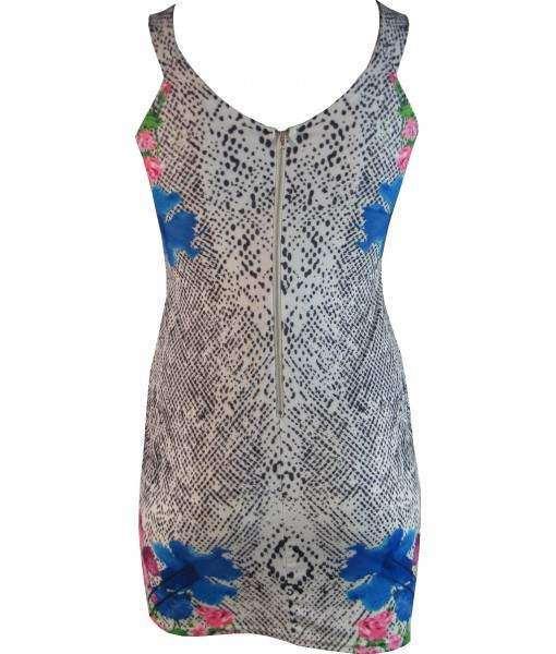 White Snake Print Bodycon Dress