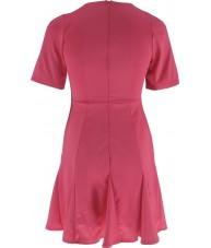 Pink Fluted Hem Skater Dress