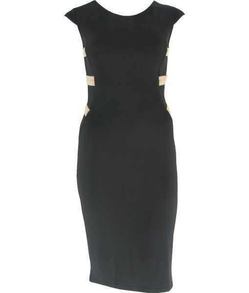 Black Bodycon Dress With Beige Strapy Back