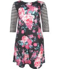 Black Dress Floral Print Raglan Sleeve