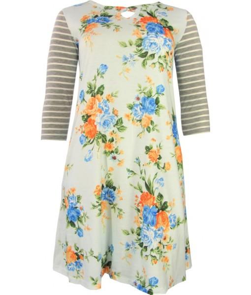 Pale Blue Dress Floral Print Raglan Sleeve