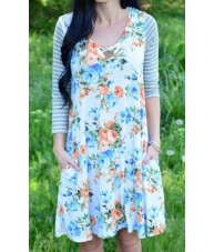 Pale Blue Dress Floral Print Raglan Sleeve
