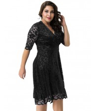 Black Dress With Floral Lace Overlay And Sheer Sleeves