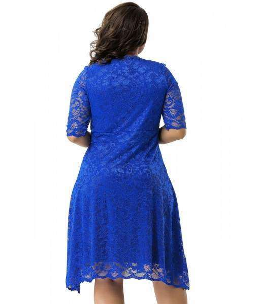 Blue Dress With Floral Lace Overlay And Sheer Sleeves