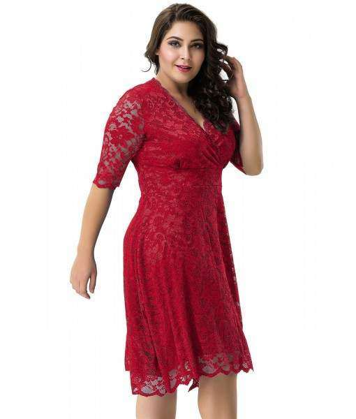 Red Dress With Floral Lace Overlay And Sheer Sleeves