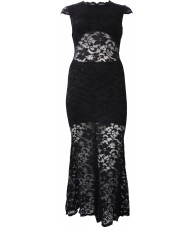 Backless Lace Short Sleeve Long Black Dress