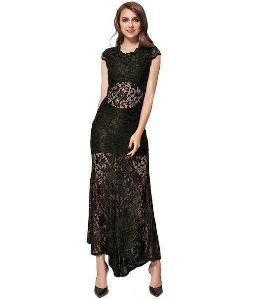 Backless Lace Short Sleeve Long Black Dress