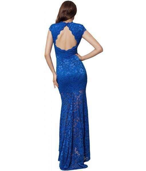 Backless Lace Short Sleeve Long Blue Dress