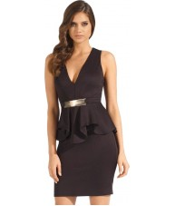Black Peplum Dress V-Neck with Gold Decorative Belt