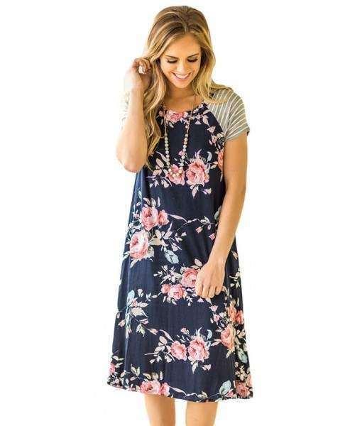 Navy Blue Dress Floral Print Short Sleeve