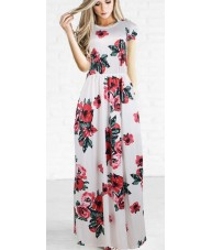White Maxi Dress with Red Floral Print