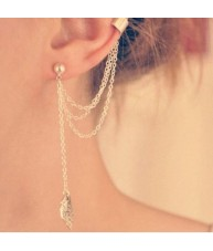 Gold Stud and Chain Leaf Tassle Huggie Earrings
