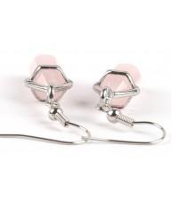 Silver Wire Drop Rose Quartz Semi Precious Earrings
