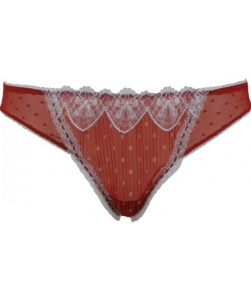 Red And White Pleated G-string By Felina