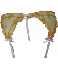 Orange Floral Garter Belt And G-String