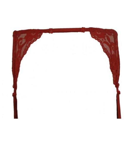 Sheer Red Garter Belt With Floral Designs